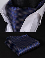 Check Striped Men Silk Cravat Ascot Tie Handkerchief Set #RM2 Party Classic Pocket Square Wedding