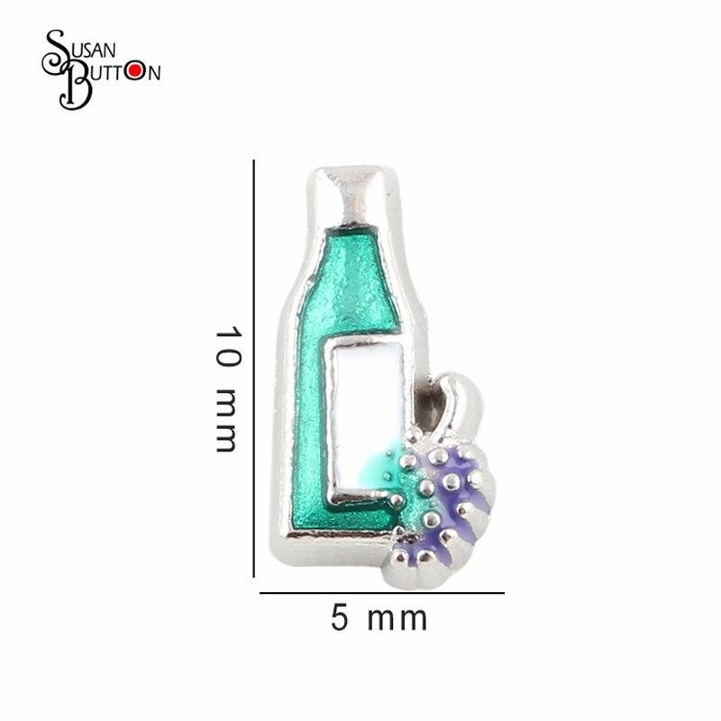 20pcs/lot Wholesale Enamel Floating Locket Charms Alloy Silver Wine Bottle Charms for Living Memory Locket SJFC2256