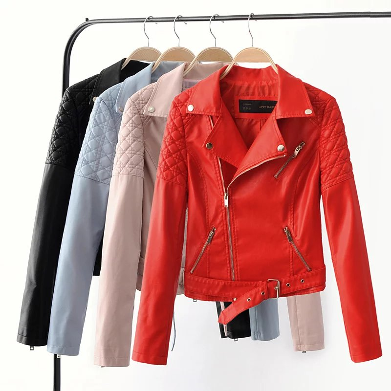 Fashion women elegant zipper faux leather biker jacket red for Red leather shirt for womens