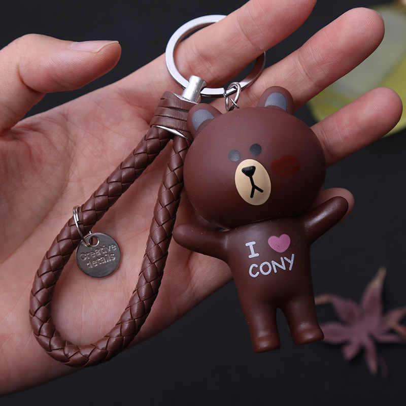 Urso marrom Sino Brinquedo da corrente Chave Anel Chave Keychain Para Meninas Mulheres Saco Encantos Chaveiro Carro Pingente de Jóias Dos Namorados presente do dia