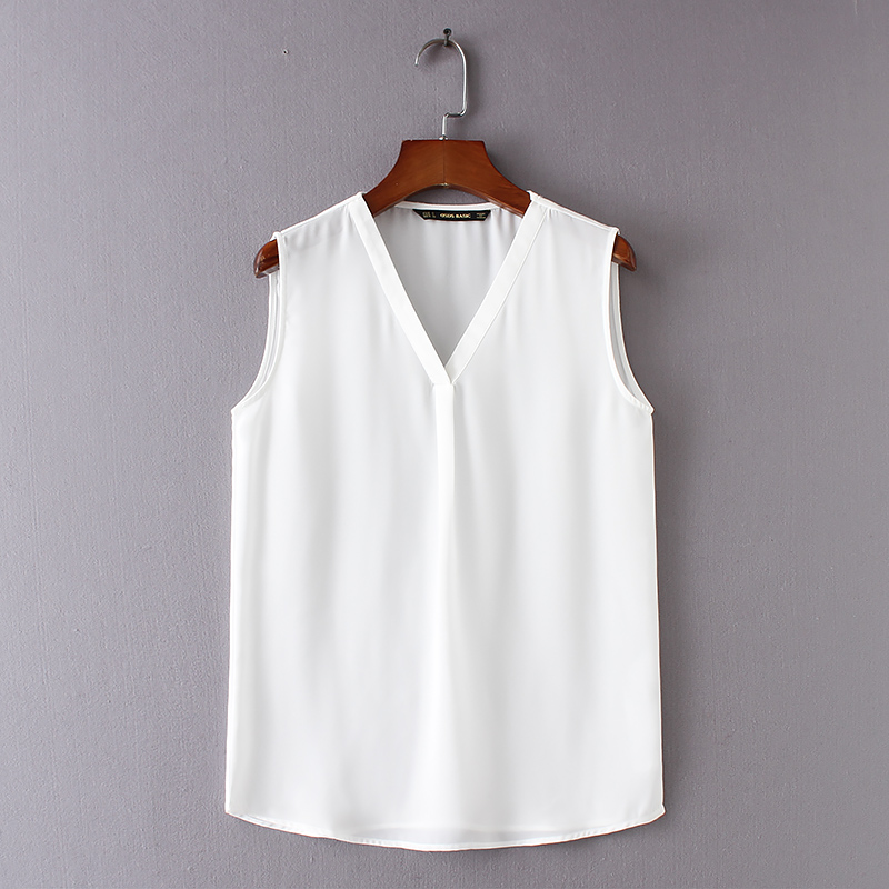 8eea15d1 2018 women white chiffon tank tops female casual summer clothing ladies OL  top Solid V neck sleeveless drop shipping SML