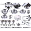 32Pcs Stainless Steel Kids House Kitchen Toy Cooking Cookware Children Pretend & Play Kitchen Playset - Silver