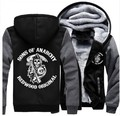New Unisex Cosplay Costume Sons of Anarchy Zipper Jacket Sweatshirts Thicken Hoodie Coat Clothing Casual Winter