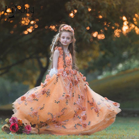 2017 New Pretty Floral Lace Pageant Dresses For Girls Lavender Kids Ball Gowns First Communion Dresses