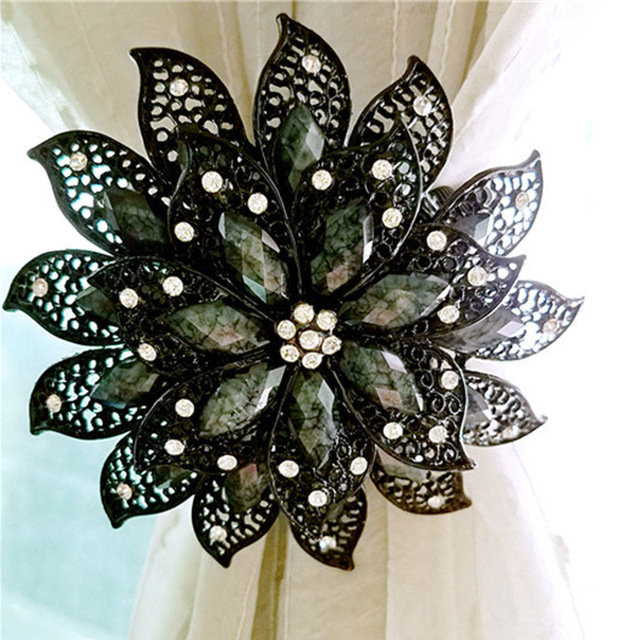 Flower Shaped Magnet Curtain Tieback Rings Spring Rhinestone Steel Wire Magnetic Curtain Buckle Clips Window Holder Accessories