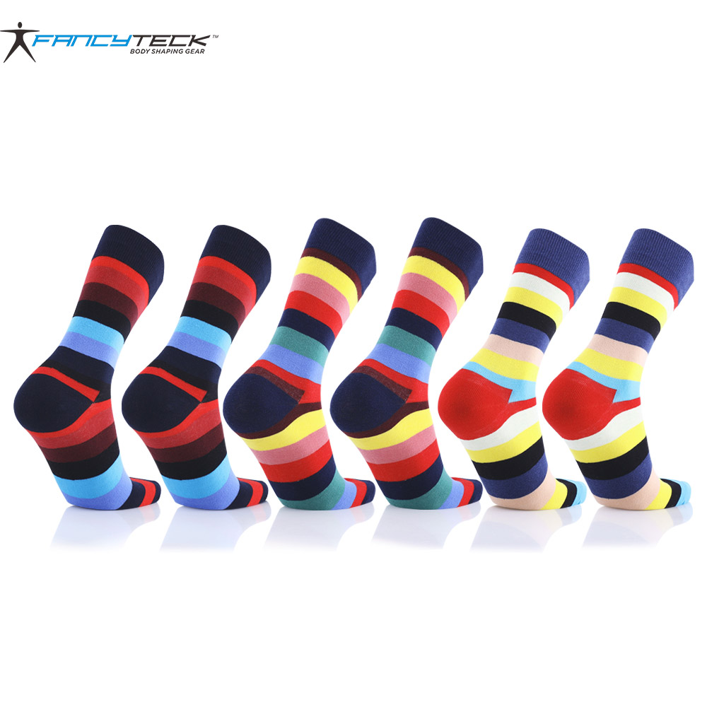 9 Pair Mens Colorful Sock Casual Woman Mens Socks Chromatic Stripe Six Pairs Of Socks Mens High Compression Socks Gift