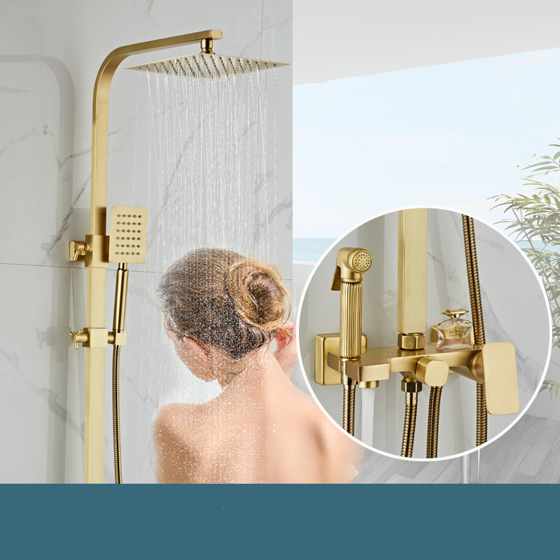 Brushed Gold Rainfall Shower Sets Faucet Mixer Tap With Tub Faucet Brass Luxury Bath & Shower Faucet Set Bathtub FaucetBrushed Gold Rainfall Shower Sets Faucet Mixer Tap With Tub Faucet Brass Luxury Bath & Shower Faucet Set Bathtub Faucet