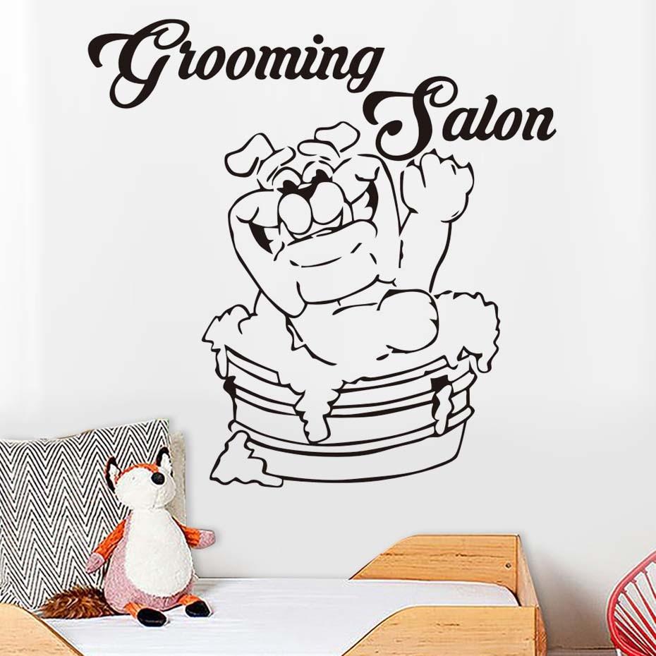 Cute Dog Grooming Salon Pet Shop Vinyl Wall Stickers Creative Design Removable Waterproof Wall Art Decals Home Decor