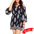 Europe Style Summer Plus Size Halter Trumpet Sleeve Dress Big Size Vintage Flare Sleeve Floral Print Mini Dress 3Xl 2Xl