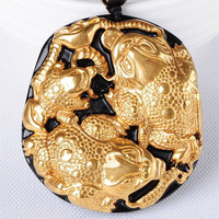 Wholesale Gold Natural Black Obsidian Carving Buddha Spittor Lucky Amulet Pendant For Women Men pendants Gift Jewelry