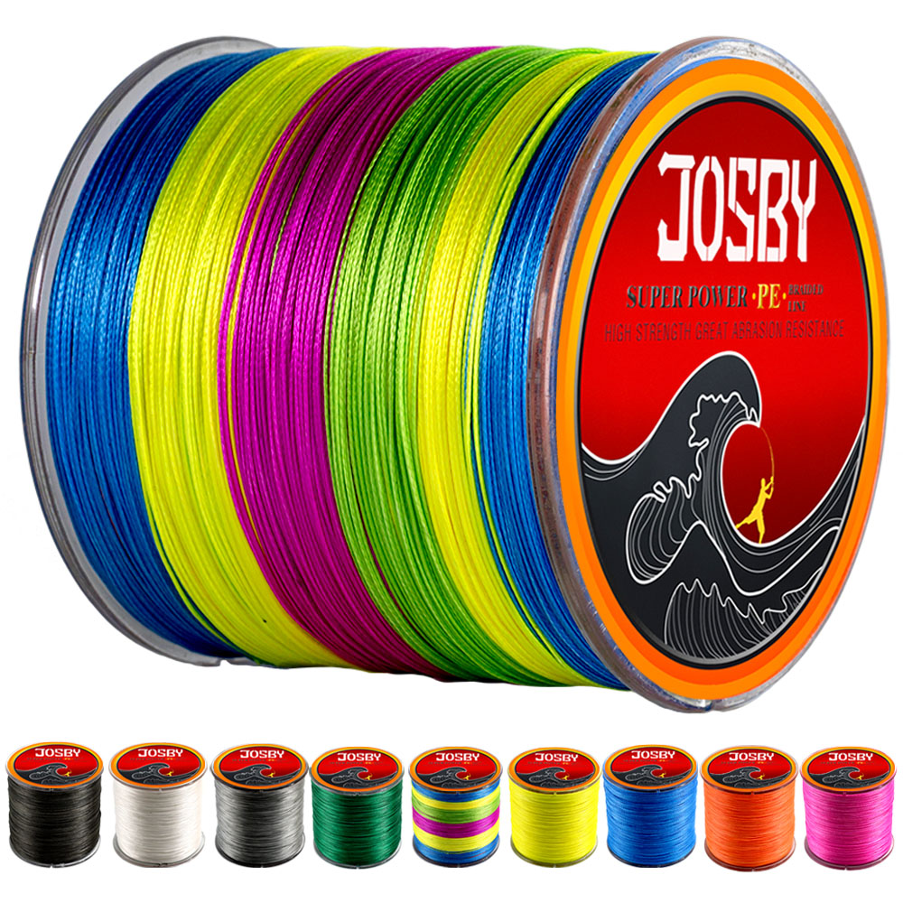 JOSBY Multicolour PE Braided Wire 8 Strands Multifilament Japanese technology Fishing Line 300M 500M 1000M 10LBS-80LBS