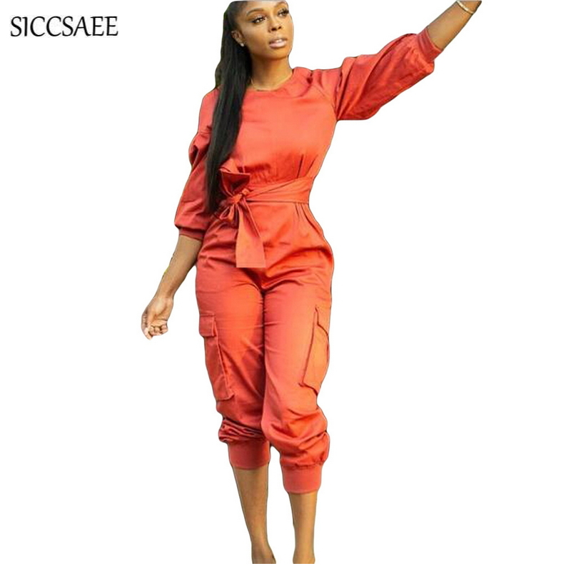 Orange Lantern Sleeve Casual With Sashes Macacao Feminino Curto Womens Jumpsuits And Rompers Fall 2018 Mono Mujer Solid Overalls