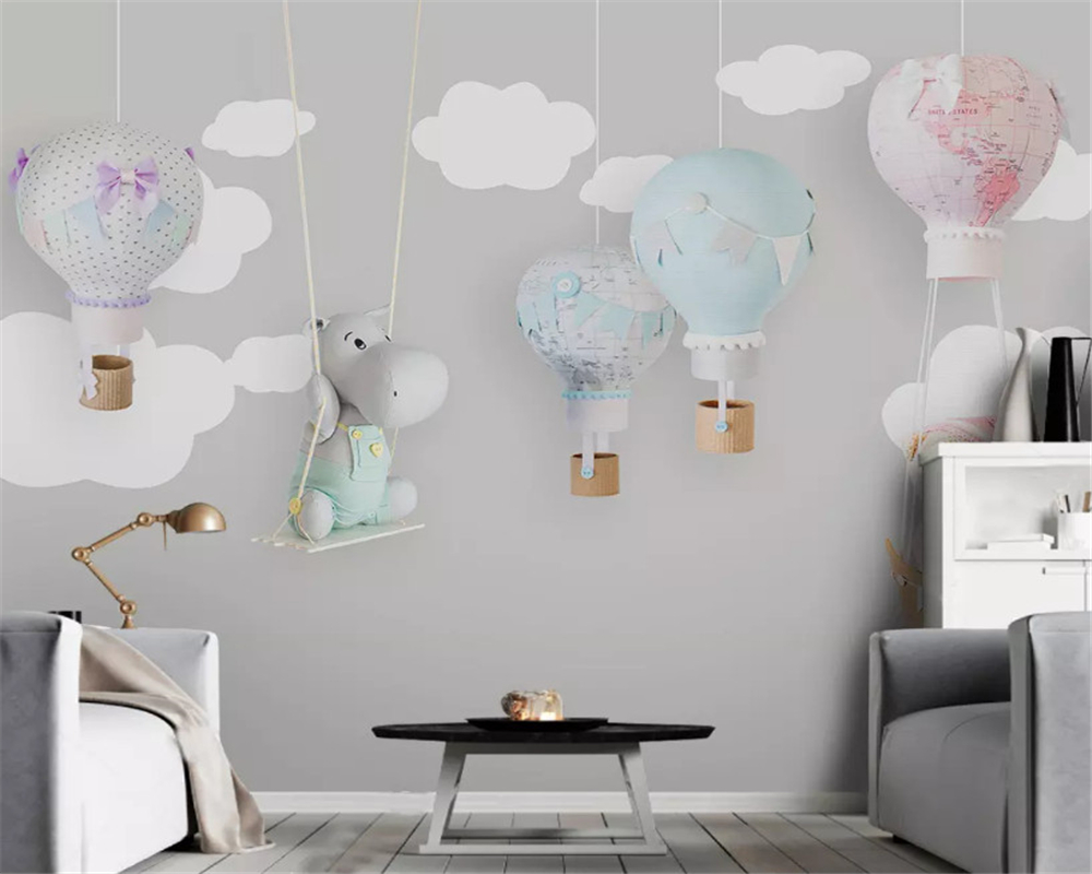 beibehang Nordic minimalist hand-painted classic three-dimensional wallpaper animal balloon children room background wall paper