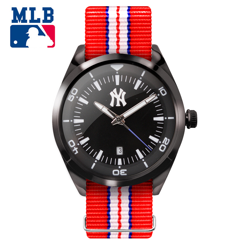 все цены на MLB NY Fashion Student Watches Nylon Watch Band Waterproof Luminous Lover Watches Men Women Quartz Sport Wrist Watch TP001 онлайн