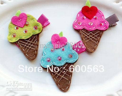 """2"""" ice cream Girls cartoon Hair Clips baby Hair Bows handmade Simple wool felt clips 100pcs / lot"""