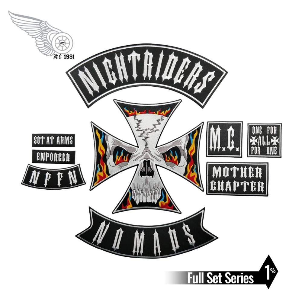 Night Rider Nomads Patch Full Set Embroidery Iron on Backing Jacket Motorcycle Custom DIYNight Rider Nomads Patch Full Set Embroidery Iron on Backing Jacket Motorcycle Custom DIY