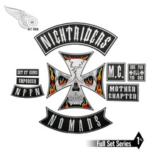 Night Rider Nomads Patch Full Set Embroidery Iron on Backing Jacket Motorcycle Custom DIY