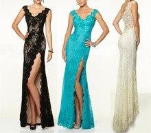Vestido de Festa 2015 New Fashion Black Ivory Lace Evening Dresses V Neck Back Mermaid Special Occasion Gowns Side Split E6152