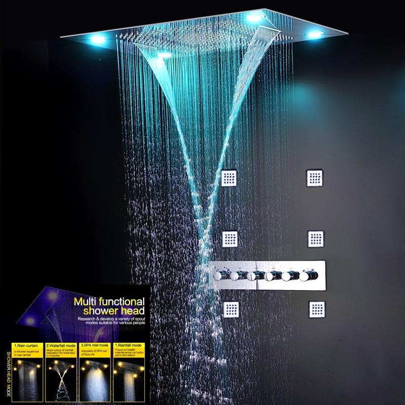 Di lusso Termostatico Miscelatore Doccia Set A Scomparsa Grande Precipitazioni Vasca Da Bagno Pannello di Massaggio Cascata Mist Rubinetti 5 Modo Docce Elettrica LED