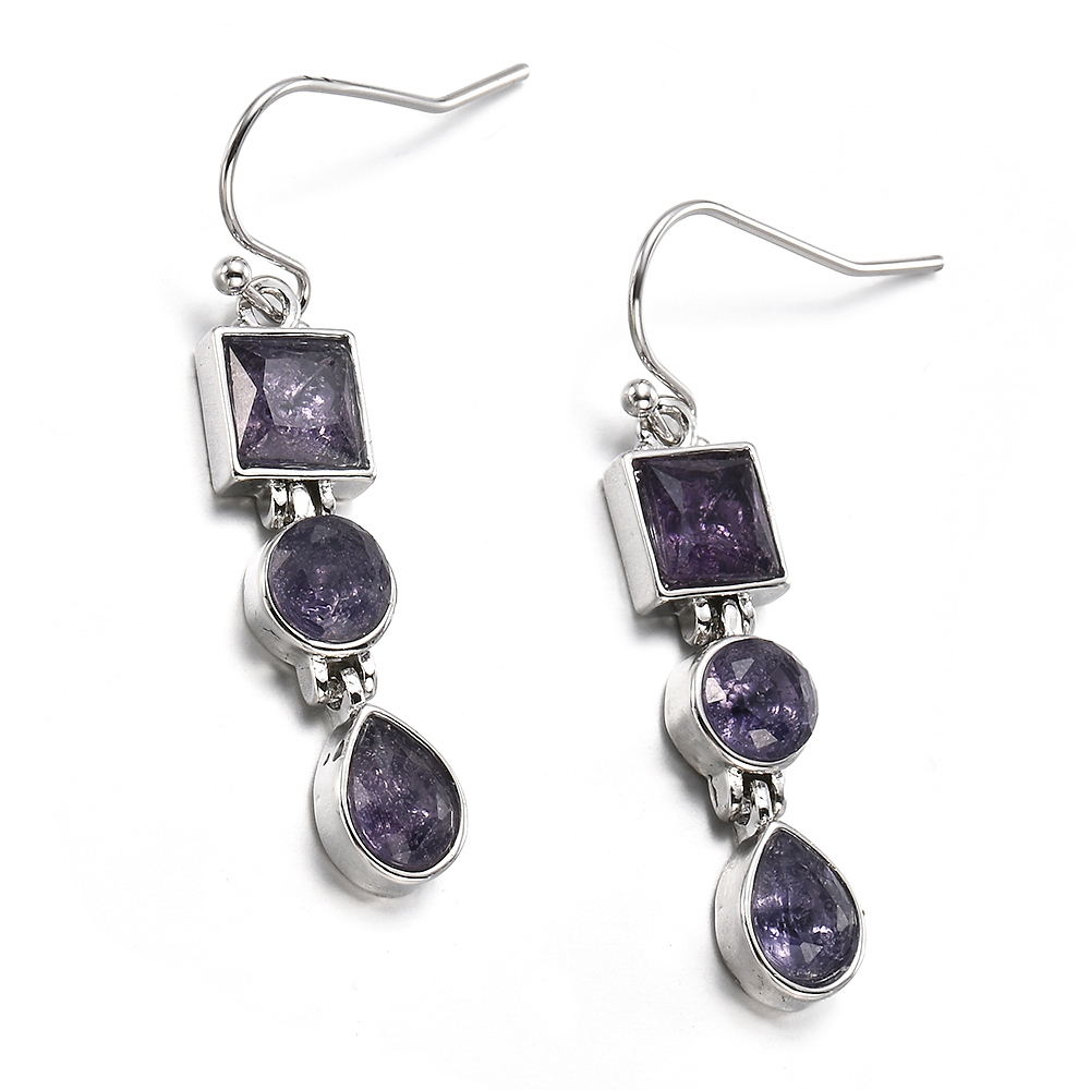 Fashion Natural Rainbow Moonstone Amethyst Dangle Hook Earrings Wedding Jewelry