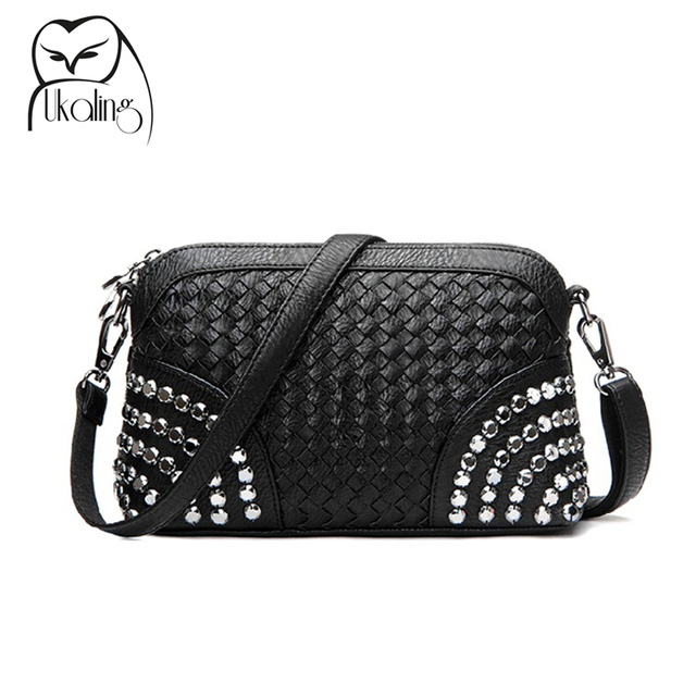 2017 Knitting Rivet Bag Women Messenger Bags Crossbody Bags for Women Purse and Handbag Ladies Handbags Dollar Price