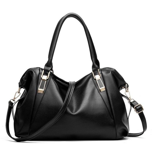 21a34c3f39 BARHEE Large Capacity Women Handbag Soft PU Leather Shoulder Bag Bolsas  Fashion Solid Tote Bags Ladies Hobo Black White Pink