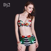 Sexy Digital Print High Waist Bikini Swimsuit Tropical Flower Top Striped Bikini Bottoms Swimwear Beach Wear