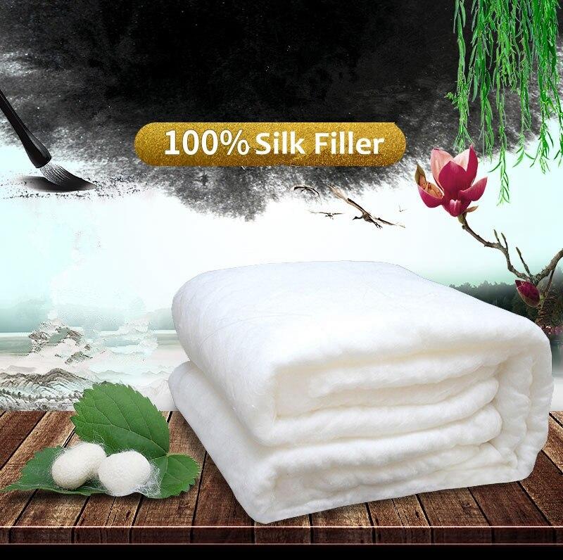 Высококачественное домашнее китайское шелковое одеяло ручной работы шелковое одеяло 100% шелковое наполненное шелковое одеяло удобное хлопковое покрытие