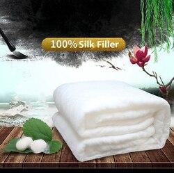 Edredones de seda chinos de alta calidad para el hogar, edredones de seda de morera hechos a mano, mantas de seda rellenas de seda 100%, cómoda funda de algodón