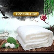 Edredones de seda chinos para el hogar de alta calidad, edredones de seda de mora hechos a mano, mantas de seda rellenas de 100%, funda cómoda de algodón