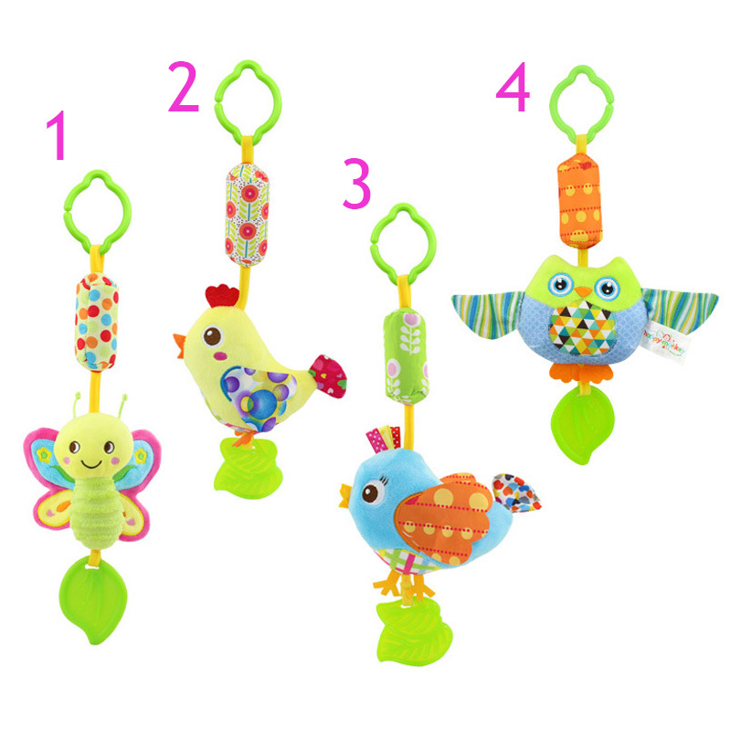 Infant Wind Chimes Plush Toys Hanging Newborn Crib Car Lathe Butterfly/Bird/Chicks/Owl Animal Baby Bed Rattles Bell Toy