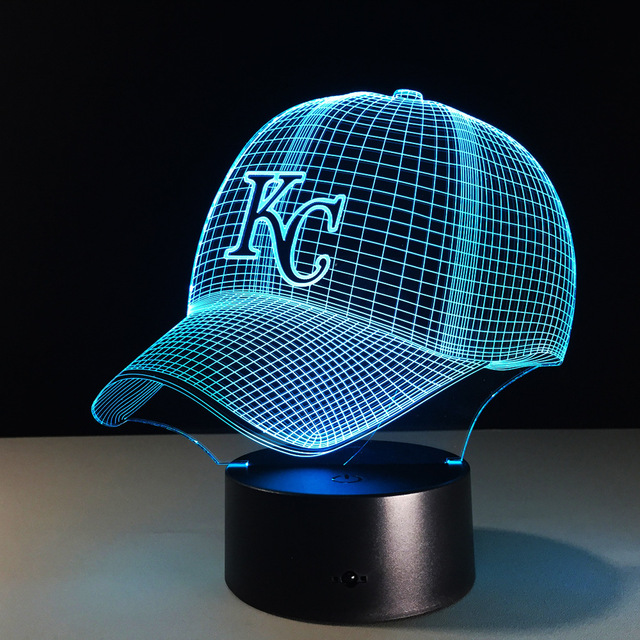 kc royals world series baseball caps kansas city fitted cap novelty chiefs illusion night light colorful hologram desk