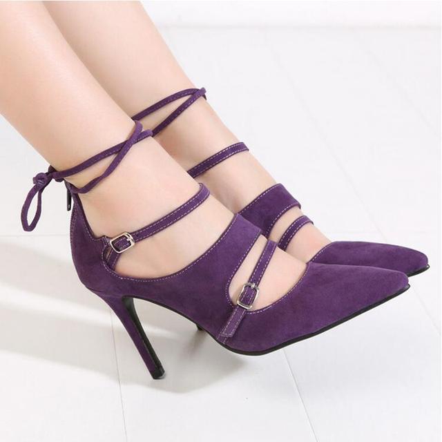 2016 la moda de primavera señaló Stilettos mujeres bombas tacones altos zapatos negro , rojo , morado zapatos femeninos de tacón alto más el tamaño 43 XP35