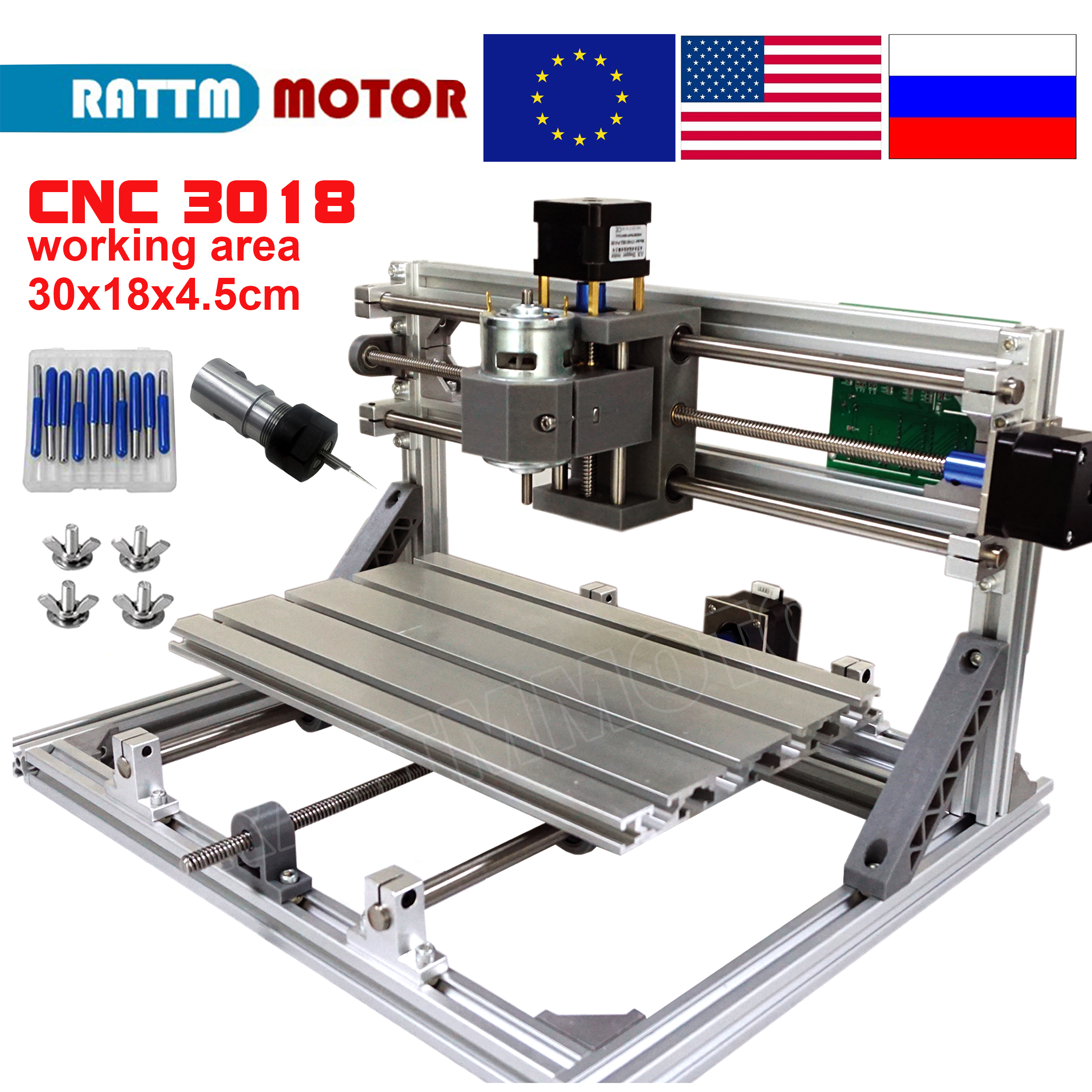 Navio da ue! Cnc 3018 grbl controle diy máquina cnc 30x18x4.5cm, laser roteador de madeira da máquina de moagem, 3 eixos pcb pvc máquina de fresagem gravação v2.5