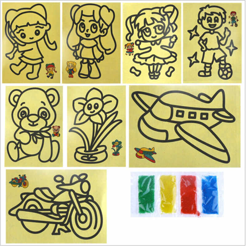 10Pcs Kid DIY Sand Painting Pictures Crafts Education Toy Pattern Learning & Education Classic Drawing Toys 11*9cm