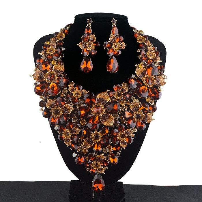 Коричневый цвет кристалл заявление вечерние цепочки и ожерелья серьги комплект Свадебные цепочки ожерелья Rhinestone Цветы