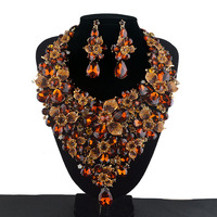 Brown color Crystal Statement Women Party Necklace earrings set Bridal Wedding Necklace Rhinestone Flowers Jewelry Sets