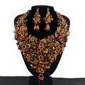 Brown cor Cristal Declaração de Mulheres Do Partido Colar brincos Nupcial set Colar de Casamento Strass Conjuntos de Jóias de Flores