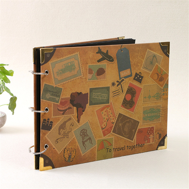 "Scrapbooking DIY wedding photo album Cowhide Paper Handmade Travel Theme Photo Albums Family Memory Record scrapboo 10"""