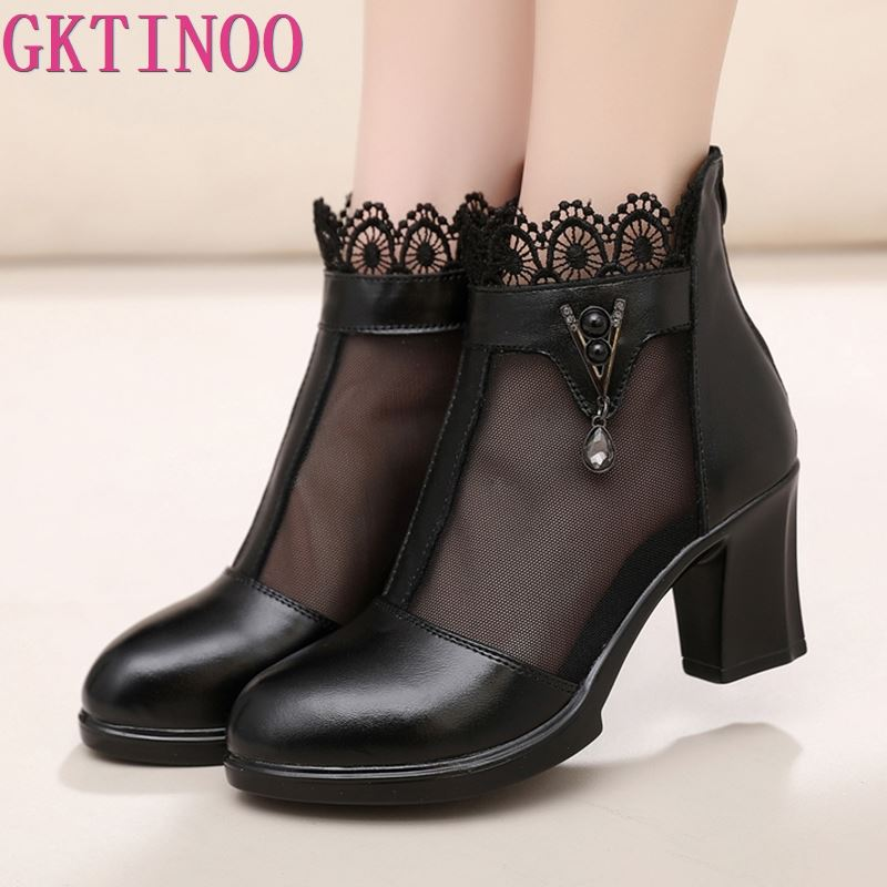 GKTINOO Women Boots Genuine Leather Ankle Boots Lace Summer Boots Zapatos Chaussures Femme Square High Heel Women ShoesGKTINOO Women Boots Genuine Leather Ankle Boots Lace Summer Boots Zapatos Chaussures Femme Square High Heel Women Shoes