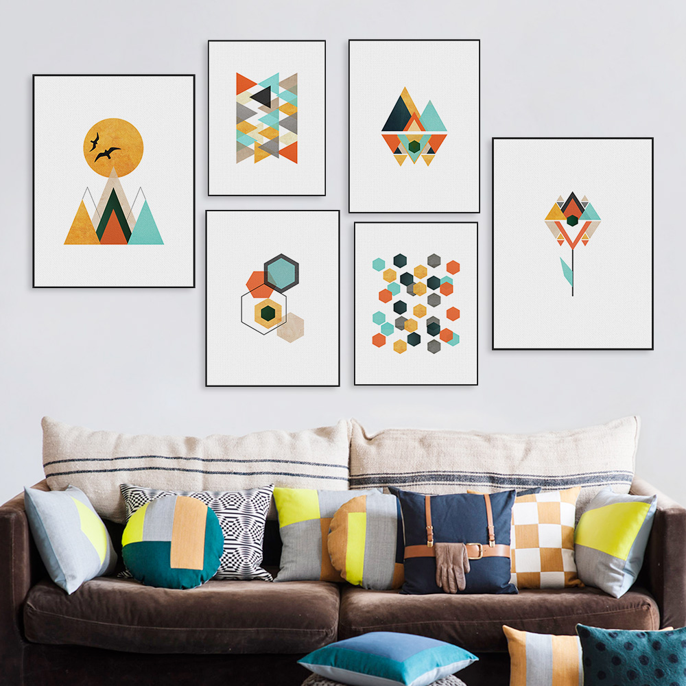 abstract geometric shape floral landscape mountain sun canvas art print poster nordic wall. Black Bedroom Furniture Sets. Home Design Ideas