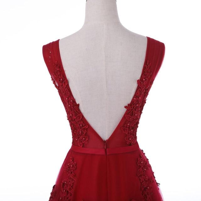New arrival sexy party evening dresses Vestido de Festa A-line prom dress lace beading Robe De Soiree V-neck dress with Zipper 6