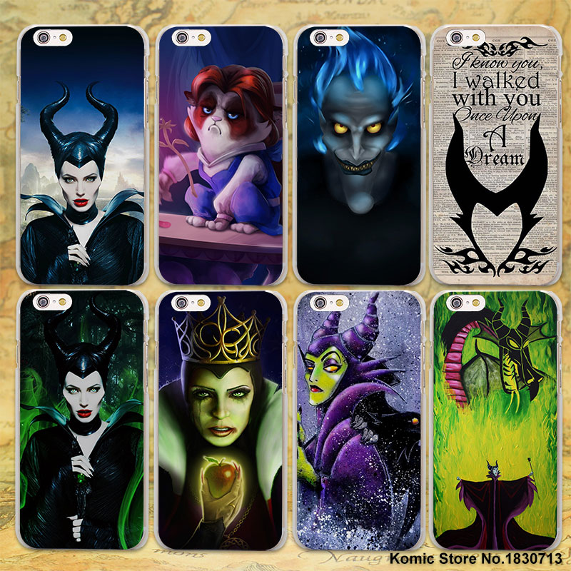 Maleficent Sleeping Beauty princess design transparent clear hard Case Cover for Apple iPhone 6 6s Plus 7 7Plus SE 5 5s