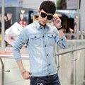 Бренд одежды супермен письма печать подробное передний центральный шить джинсовые синюю кнопку закрытие мода куртка мужчины GLK002