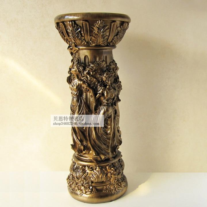 Li Sheng European Flower A Few Retro Rome Column Indoor Living Room Floor  Decoration Pillar Resin
