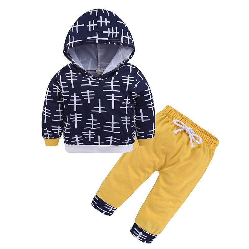 Модная комплект детской одежды осень Топы с длинным рукавом + штаны комплекты одежды из 2 предметов для маленьких рубашка для девочек и маль...