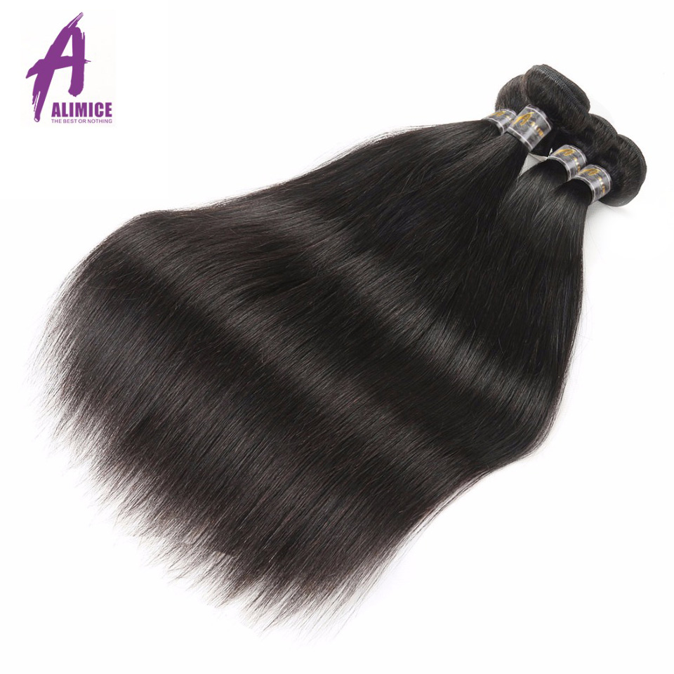 Alimice Hair Brasilian Straight Remy Hair Weave Bundles 100% - Menneskelig hår (for svart)