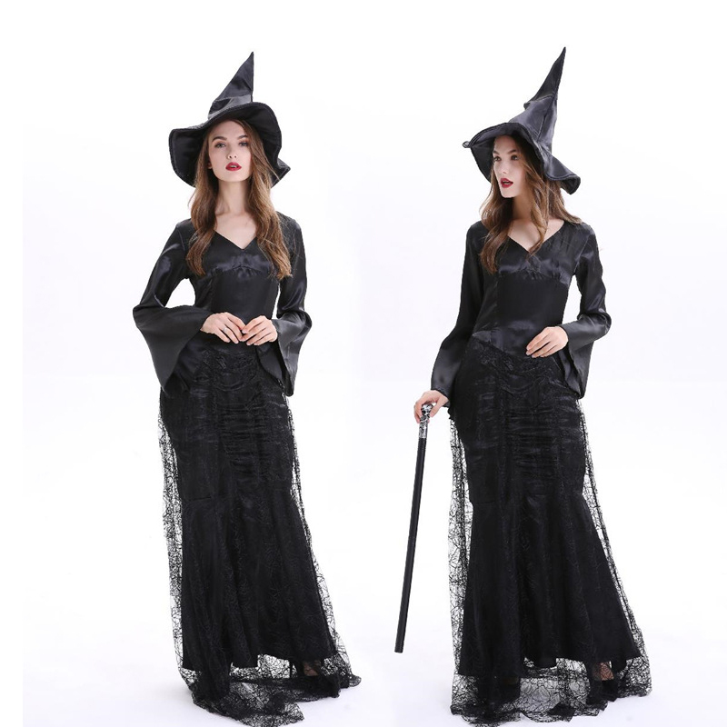 Women Halloween Gothic Dress With Cap Witch Costume -9197
