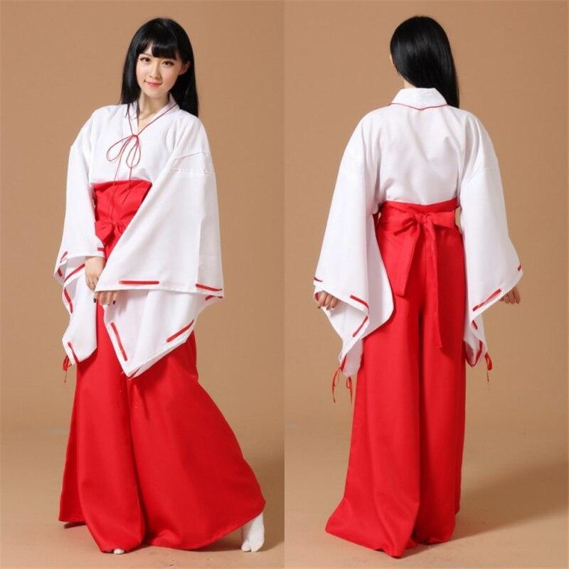 Classic Anime Inuyasha Kikyo Kimono Cosplay Adult Female Set Halloween Party Manifesto Pretty Dress