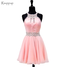 Real Picture Short Pink Homecoming Dress 2017 A-line Beaded Crystals Junior Chiffon Party 8th Grade Prom Dresses